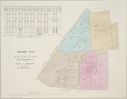 Ground plan of premises, King William St, in the City of London for sale by Mr. Hoggart